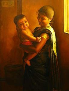 A painting of a women holding her child