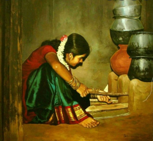 A painting of young indian girl cooking