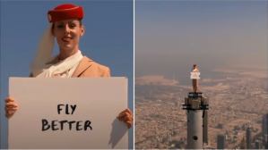 Flight attendant of Fly Emirates standing on the top of Burj Khalifa for their company advertisement