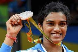 PV Sindhu winning the silver medal at the Rio Olympics