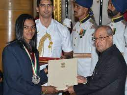 Sindhu being awarded the  Major Dhyan Chand Khel Ratna