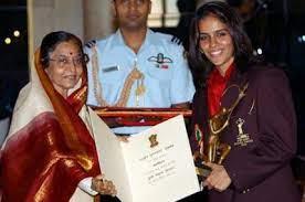Saina being awarded the Major Dhyan Chand Khel Ratna